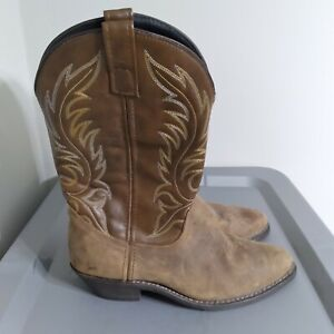 Laredo Women's Size 8.5W Wide Shoes Brown Leather Slip On Western Cowboy Boots