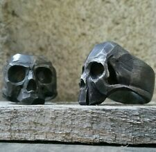 Live Fast Die young skull ring sterling oxidized silver mens biker masonic  925