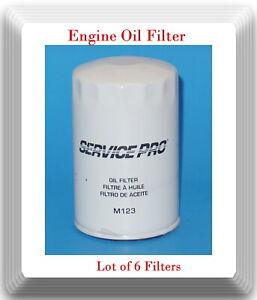 6 x Oil Filter Service Pro M123 Fits:Buick Cadillac Chevolet GMC Isuzu Saturn