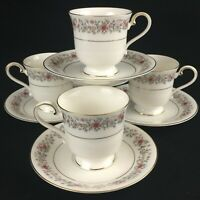 Set of 4 VTG Cups and Saucers by Mikasa Grosvenor Rust & Gray Floral Japan L6216