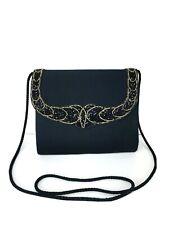 Vintage Milor Black and Gold Beaded Crossbody Clutch Evening Shoulder Bag