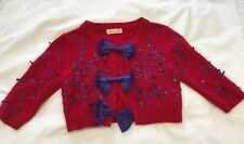 ALANNAH HILL 'MEOW FOR ME' CARDIGAN RED ANGORA / MIX   PURPLE BOWS  SIZE 8