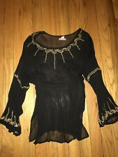 Glam Souls Sheer Black Gold Sequin Flare Sleeve Hindu Bollywood Boho Blouse S/M