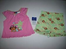 Dora the Explorer Pajamas Sleepwear Infant Baby Girls 2pc Set 12 Mos. Beach NWT