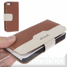 Straw Mat Texture Leather Case with Credit Card Slots for iPhone 5 (Brown)
