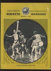 11 18 1967 NBA Basketball Program San Francisco Warriors at San Diego Rockets EX