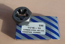 "CHAMPION Hex Rethreading Die, CS, Right Hand Thread, 11/16 "", Pitch 16 11/16-16"