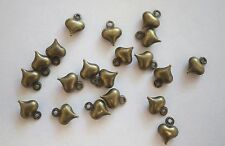20 Tiny Small Antique Bronze Colour Puffed Heart Charms - 6mm