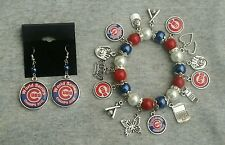 Chicago cubs world series earring and bracelet set