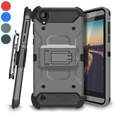 For HTC Desire 530 Hybrid Shockproof Kickstand Case Belt Clip Holster Cover