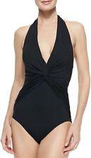$110 Michael Kors Deep Plunging V-Neck Halter Mio Swimsuit Bathing Suit Black 6