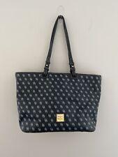 Dooney & Bourke Leisure Gretta Black Leather Canvas Shopper Tote Bag Purse