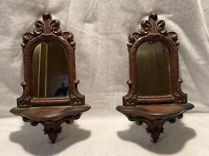 Vintage Syroco Wood Victorian Rococo Walnut Stained Mirror Wall Shelf Set