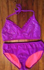Xhilaration Bikini Swimsuit Top/Bottoms XL 14-16 Purple Sequins Halter Neck Tie