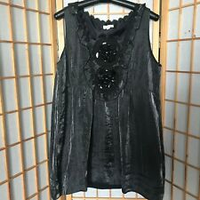 """""""GRACE HILL""""SIZE """"16""""LADIES STUNNING LONG PEWTER LINED TOP~STUNNING~DAISY~~SEQUI"""
