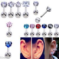16G Zirconia Gem Steel Barbell Ear Tragus Cartilage Helix Studs Earring Piercing
