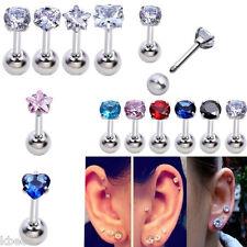 16G 4mm CZ Gem Steel Barbell Ear Tragus Cartilage Helix Studs Earring Piercing