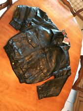 NWT Men's Black Leather Patchwork Jacket Coat Biker Medium. Lined