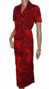 C107 - 2pc Red, Orange, Purple Strap Dress & Short Sleeved Jacket Set - UK 10