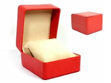 Uhrenetui Uhrenbox Geschenkbox Kunstleder Rot Beige
