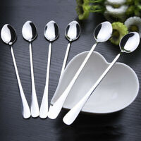 6X Stainless Steel Ice Cream Tea Spoons Long Handle Scoops Coffee Soup Teaspoons
