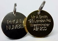 ENGRAVED LUGGAGE TAGS - Identity Address Phone number Label Fob Tag 30mm bespoke