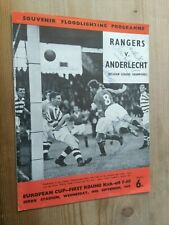 More details for rangers v anderlecht. european cup. 1st round.16th september 1959.  autographed.