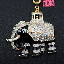 Women's Crystal Enamel Elephant Pendant Long Chain Betsey Johnson Charm Necklace