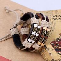 Fashion Women Men Unisex Leather Weaved Cuff Bangle Bracelet Jewelry Wristband