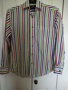 Men's Multi Coloured Striped Shirt From Thomas and Co Size  15 Collar