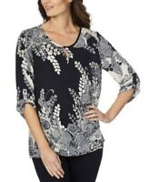 W LANE Top Plus Size 14 18 20 Navy White Paisley Floral Roll Tab Sleeve Blouse
