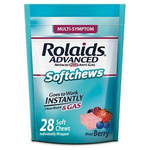 Rolaids Advanced Antacid PLUS Anti-Gas Soft Chews, Mixed Berry - 28 ct