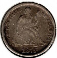 1875 Seated Liberty Dime 10 Cent - AU