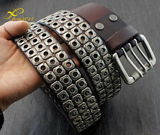 Mens Punk Biker Studded Three Hole Real Leather Belt Waistband w/ Roller Buckle