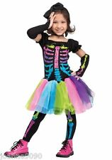 Girls Kids Halloween Rainbow Bone Neon Skeleton Fancy Dress Tutu Costume Age 3 4