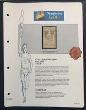 Olympics Roma 1960 Italia Italy Gold stamp 99,8% Goldauflage Only 4.999 MNH 7/10