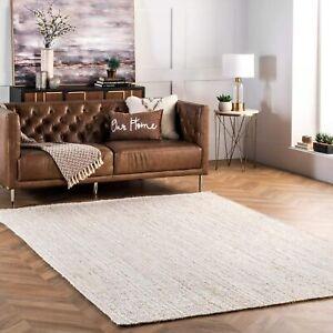 Braided Rug Rag Bohemian Jute Area Rug Rag Home Decor Rugs All Sizes Off-White