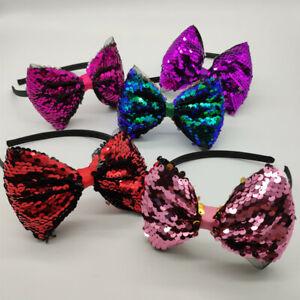 "5pcs 5"" Women Girls Kid Rainbows Glitter Reversible  Sequin Bows with Headband"
