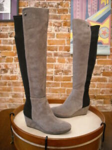 Vince Camuto Alexila Grey Suede OTK Over the Knee Wedge Boots 6.5W NEW