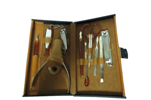 Vintage Manicure Pedicure Travel Kit 10 Piece Set Brown Case Complete Clean