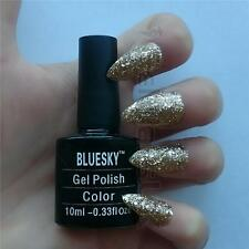 Bluesky S12N GOLD GLITTER UV/LED Soak Off Gel Nail Polish 10ml Free Postage