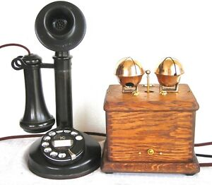 KELLOGG DIAL CANDLESTICK & LARGE SLEIGH BELLS SUBSET RESTORED ANTIQUE TELEPHONE
