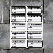 10 X Pegatinas de servicio al siguiente Coche Furgoneta Camión Garaje de cambio de aceite recordatorio Negro - 5419
