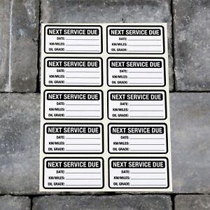 10 x Next Service Stickers Car Van Truck Garage Oil Change Reminder Black - 5419