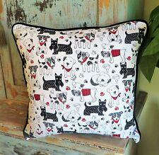 "Scottie Dog Pillow Cover Handmade Retro Scottish Terrier Pillow Cover 18x18"""