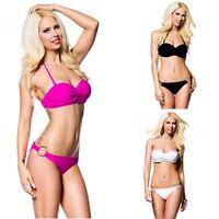 Push-Up-Bikini pink Bandeau abnehmbare Neckholder-Träger (13783)