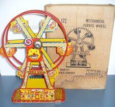ESTATE J. CHEIN FERRIS WHEEL HERCULES CARNIVAL TOY TIN WINDUP MECHANICAL OLD BOX