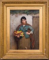 Large 19th Century Italian Flower Girl Portrait Carlton Alfred Smith [1853-1946]