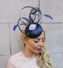 Navy Blue Silver Feather Pillbox Hat Fascinator Races Hair Clip Formal 4461