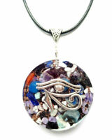 necklet orgonite  pendant necklace Eye of Horus, stones, crystals.Protection nrg